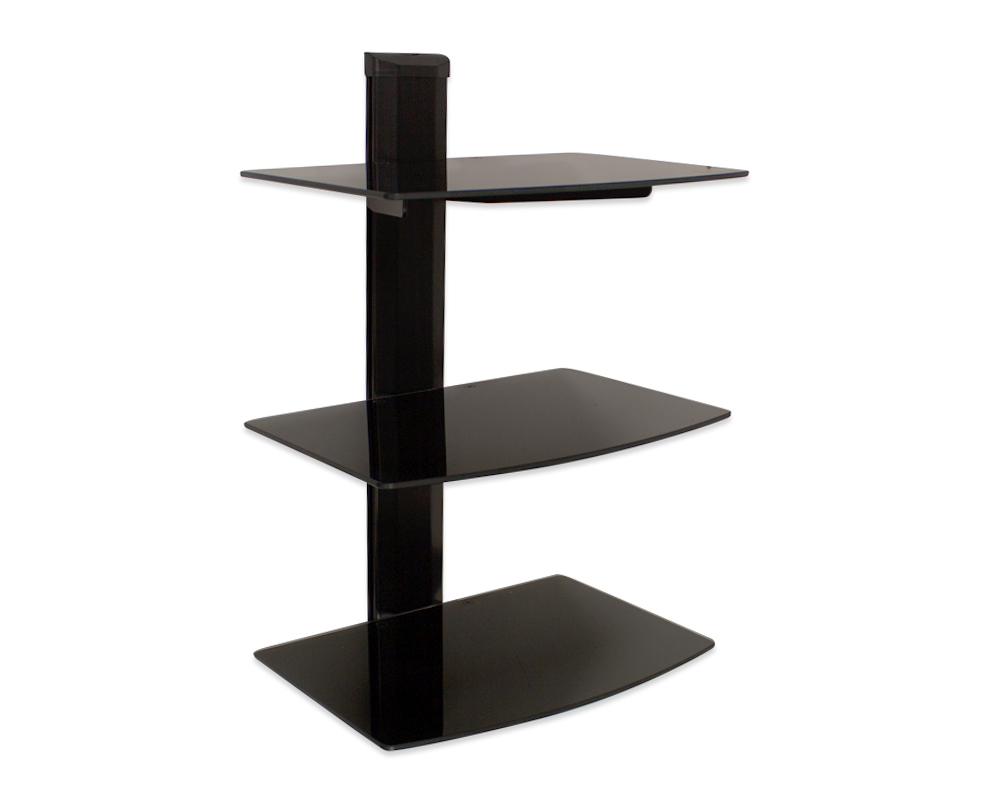3 Tier Triple Small Glass Shelf Wall Mount Under Tv